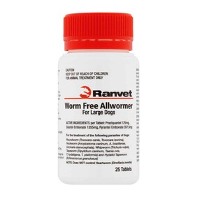 Ranvet Large Dog Wormer 25kg 100 tablets