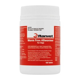 Ranvet All Dog Wormer 10kg 100 tablets